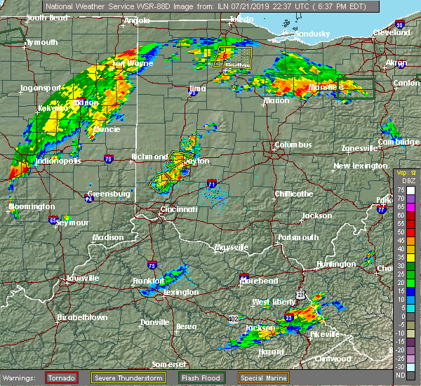 Radar Image for Severe Thunderstorms near Dayton, OH at 7/21/2019 6:43 PM EDT