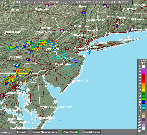 Radar Image for Severe Thunderstorms near Fullerton, PA at 7/21/2019 8:47 PM EDT