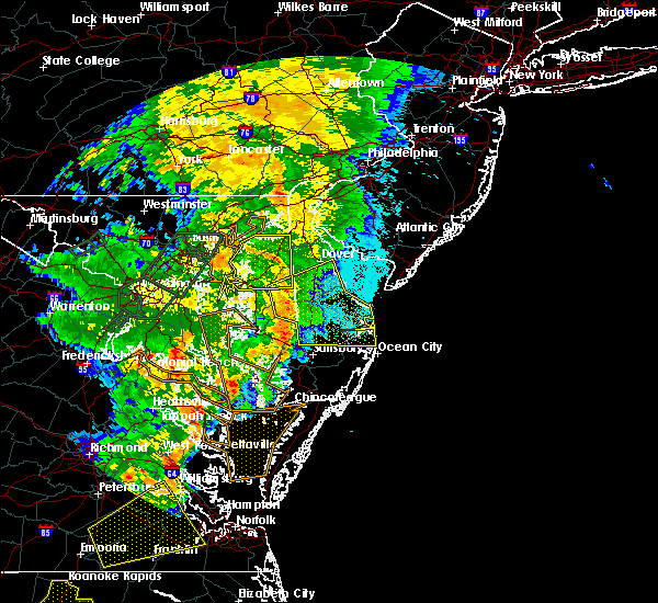 Radar Image for Severe Thunderstorms near Milford, DE at 6/20/2015 10:56 PM EDT