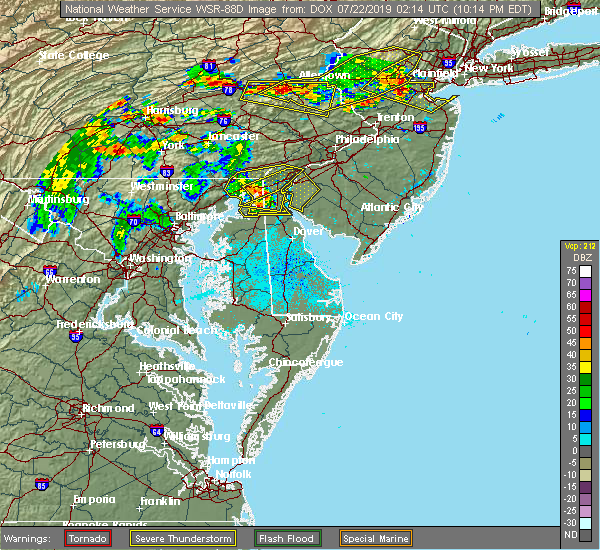 Radar Image for Severe Thunderstorms near Bear, DE at 7/21/2019 10:16 PM EDT