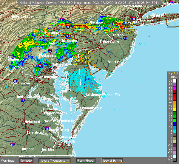 Radar Image for Severe Thunderstorms near Bear, DE at 7/21/2019 10:27 PM EDT