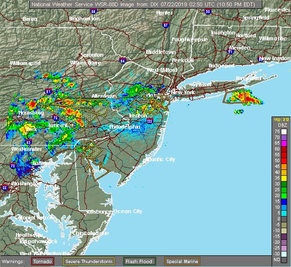Radar Image for Severe Thunderstorms near Roselle Park, NJ at 7/21/2019 10:51 PM EDT