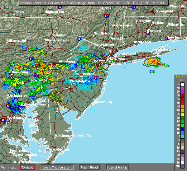 Radar Image for Severe Thunderstorms near Bally, PA at 7/21/2019 10:51 PM EDT