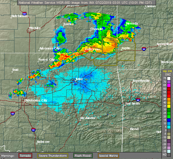Radar Image for Severe Thunderstorms near South Coffeyville, OK at 7/21/2019 10:04 PM CDT