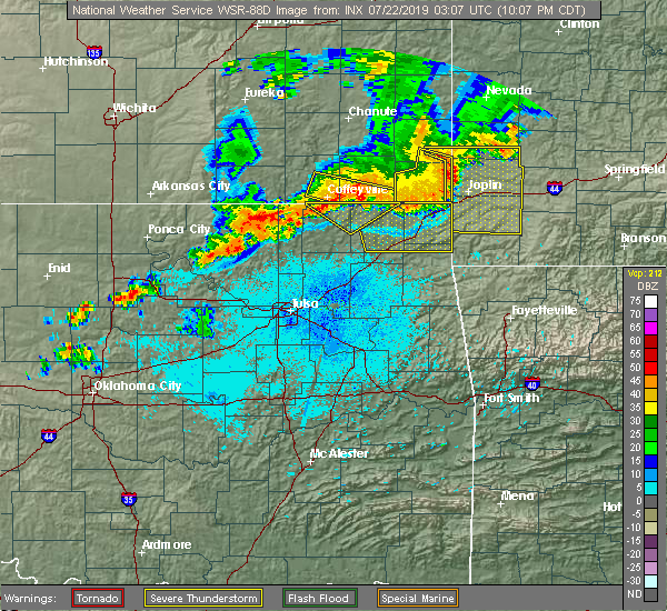 Radar Image for Severe Thunderstorms near Wynona, OK at 7/21/2019 10:12 PM CDT