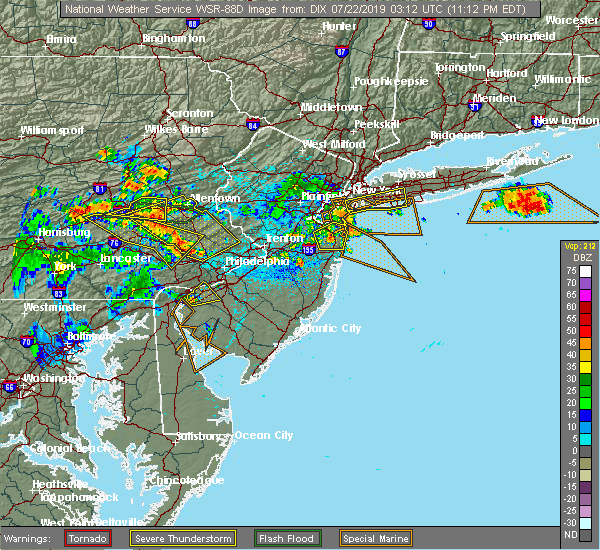Radar Image for Severe Thunderstorms near Wilmington, DE at 7/21/2019 11:14 PM EDT