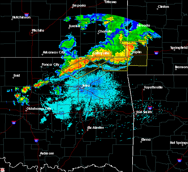Radar Image for Severe Thunderstorms near Bernice, OK at 7/21/2019 10:25 PM CDT