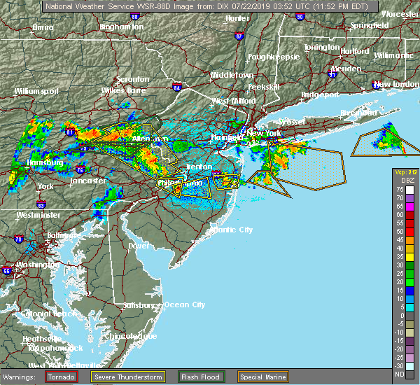 Radar Image for Severe Thunderstorms near Wrightstown, NJ at 7/21/2019 11:57 PM EDT