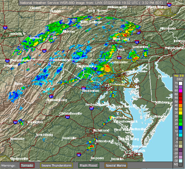 Radar Image for Severe Thunderstorms near Westminster, MD at 7/22/2019 3:38 PM EDT