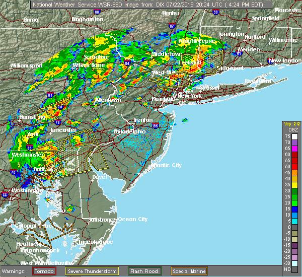 Radar Image for Severe Thunderstorms near Upper Stewartsville, NJ at 7/22/2019 4:27 PM EDT
