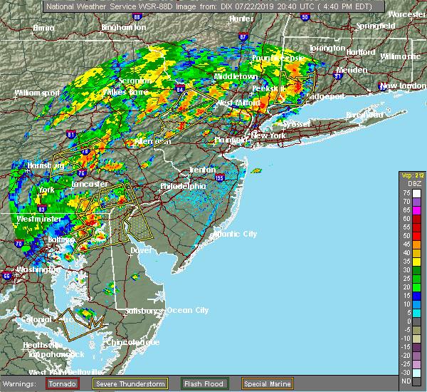 Radar Image for Severe Thunderstorms near Upper Stewartsville, NJ at 7/22/2019 4:46 PM EDT