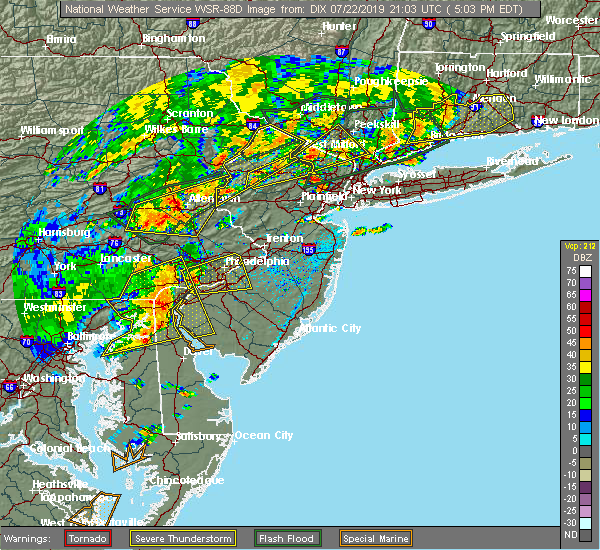 Radar Image for Severe Thunderstorms near Oak Valley, NJ at 7/22/2019 5:07 PM EDT