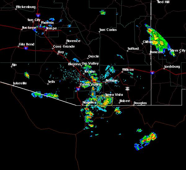 Radar Image for Severe Thunderstorms near Sierra Vista Southeast, AZ at 7/22/2019 3:24 PM MST