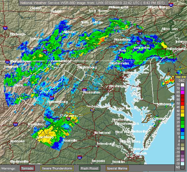 Radar Image for Severe Thunderstorms near Louisa, VA at 7/22/2019 6:47 PM EDT