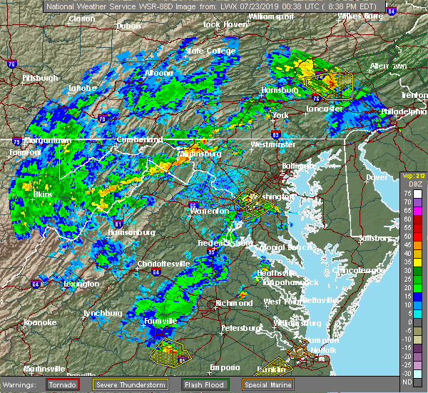Radar Image for Severe Thunderstorms near Camp Springs, MD at 7/22/2019 8:43 PM EDT
