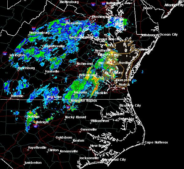 Radar Image for Severe Thunderstorms near Heathsville, VA at 7/22/2019 11:02 PM EDT