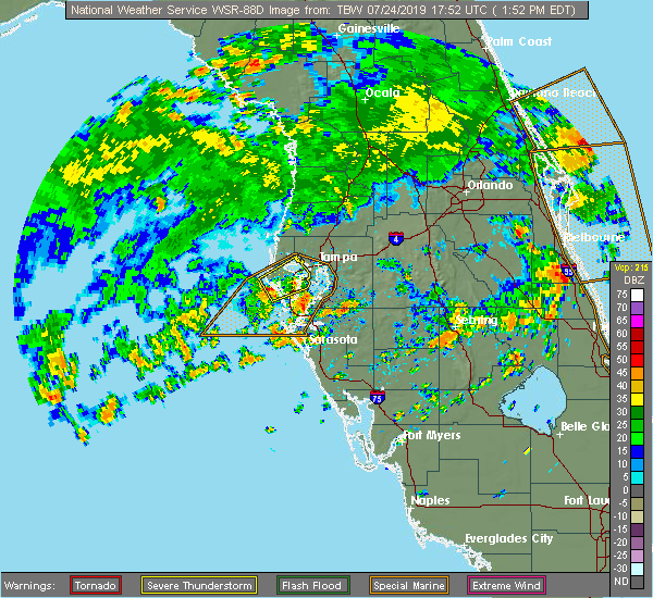 Radar Image for Severe Thunderstorms near St. Petersburg, FL at 7/24/2019 1:58 PM EDT