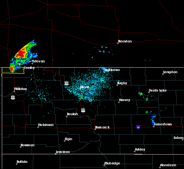 Radar Image for Severe Thunderstorms near Crosby, ND at 7/24/2019 11:34 PM CDT