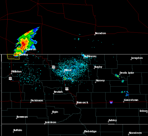 Radar Image for Severe Thunderstorms near Crosby, ND at 7/24/2019 11:56 PM CDT