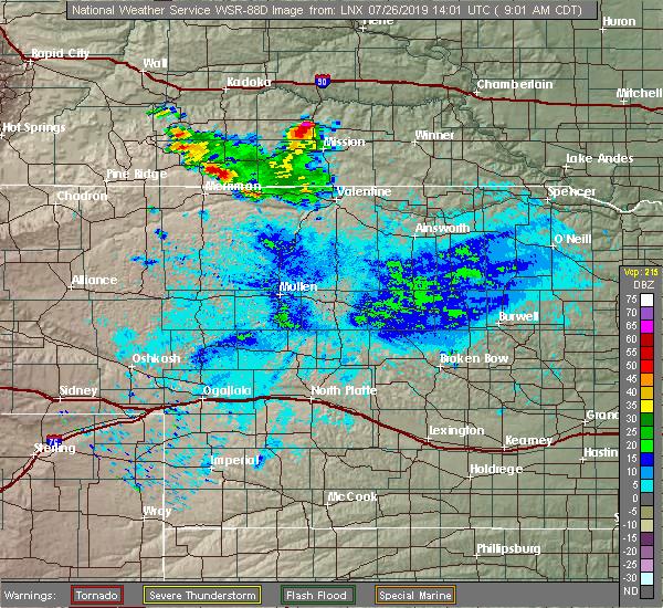 Radar Image for Severe Thunderstorms near White River, SD at 7/26/2019 9:05 AM CDT