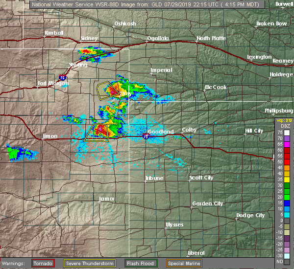 Radar Image for Severe Thunderstorms near Wray, CO at 7/29/2019 4:18 PM MDT