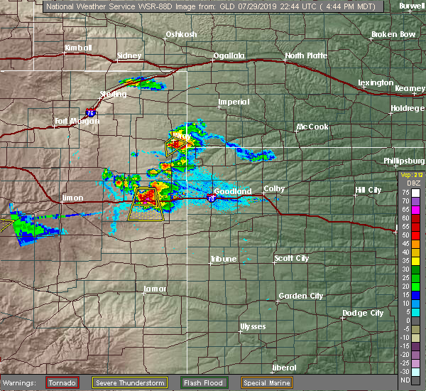Radar Image for Severe Thunderstorms near Wray, CO at 7/29/2019 4:46 PM MDT