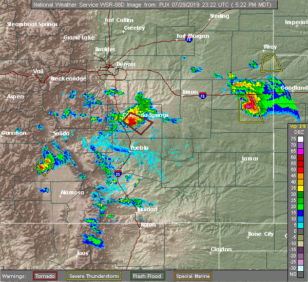 Radar Image for Severe Thunderstorms near Ellicott, CO at 7/29/2019 5:24 PM MDT