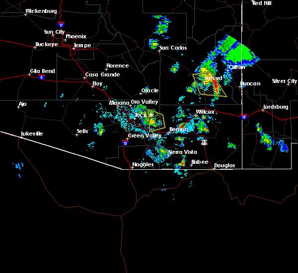 Radar Image for Severe Thunderstorms near St. David, AZ at 7/29/2019 5:01 PM MST