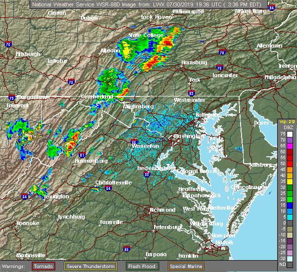 Radar Image for Severe Thunderstorms near Basye, VA at 7/30/2019 3:41 PM EDT