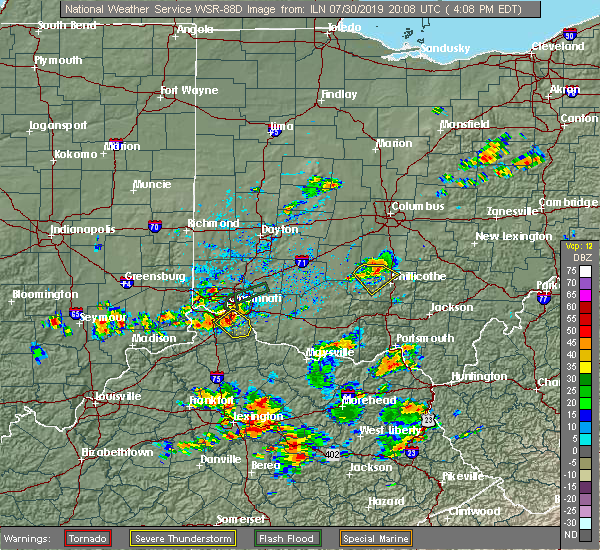 Radar Image for Severe Thunderstorms near Dayton, OH at 7/30/2019 4:14 PM EDT