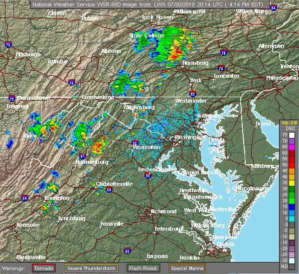 Radar Image for Severe Thunderstorms near Antietam, MD at 7/30/2019 4:20 PM EDT