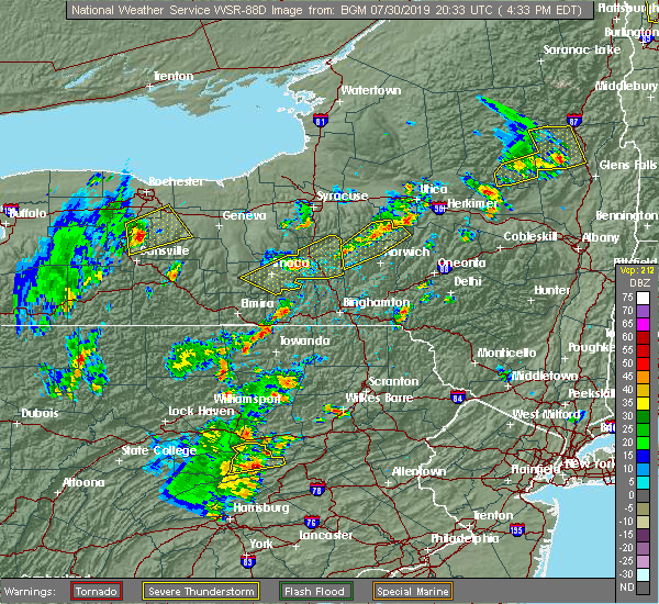 Radar Image for Severe Thunderstorms near Cayuga Heights, NY at 7/30/2019 4:35 PM EDT