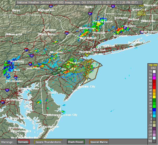 Radar Image for Severe Thunderstorms near Wrightstown, NJ at 7/31/2019 2:32 PM EDT