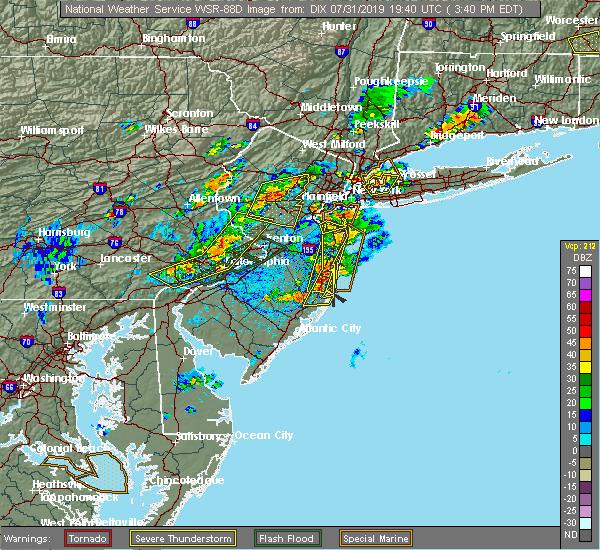 Radar Image for Severe Thunderstorms near Silver Ridge, NJ at 7/31/2019 3:42 PM EDT