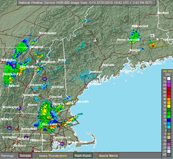 Radar Image for Severe Thunderstorms near South Eliot, ME at 7/31/2019 3:44 PM EDT