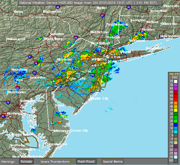 Radar Image for Severe Thunderstorms near Roselle Park, NJ at 7/31/2019 3:53 PM EDT