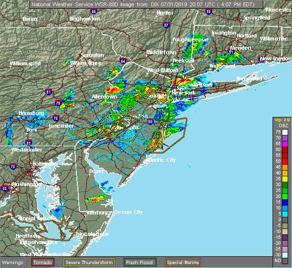 Radar Image for Severe Thunderstorms near Roselle Park, NJ at 7/31/2019 4:13 PM EDT
