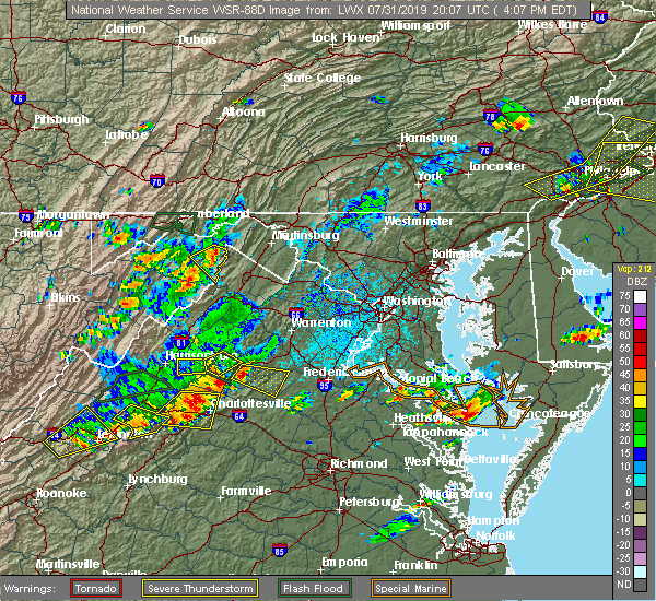 Radar Image for Severe Thunderstorms near Orange, VA at 7/31/2019 4:12 PM EDT