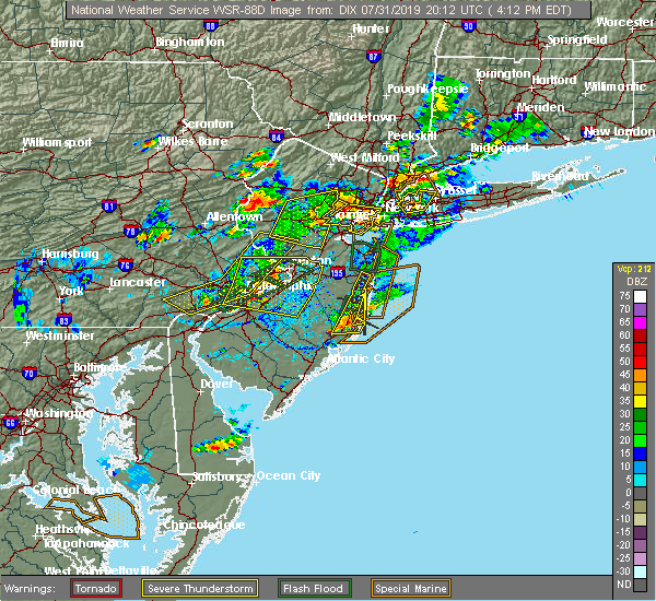 Radar Image for Severe Thunderstorms near Roebling, NJ at 7/31/2019 4:16 PM EDT