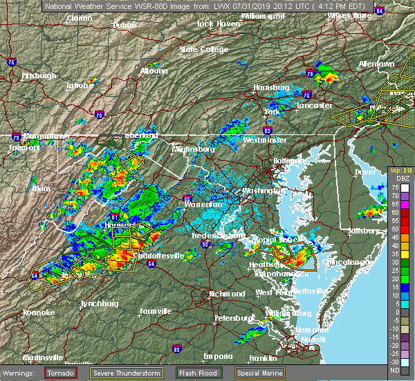 Radar Image for Severe Thunderstorms near Orange, VA at 7/31/2019 4:16 PM EDT