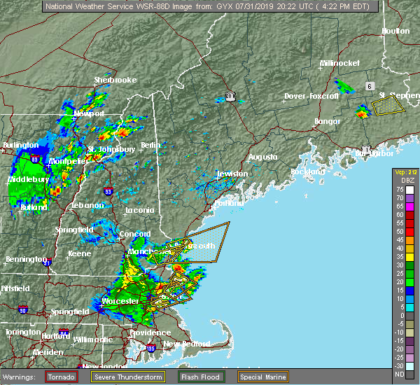 Radar Image for Severe Thunderstorms near South Eliot, ME at 7/31/2019 4:25 PM EDT