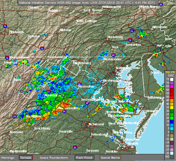 Radar Image for Severe Thunderstorms near Orange, VA at 7/31/2019 4:45 PM EDT