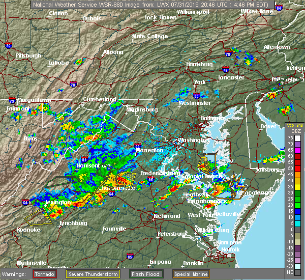 Radar Image for Severe Thunderstorms near Orange, VA at 7/31/2019 4:54 PM EDT
