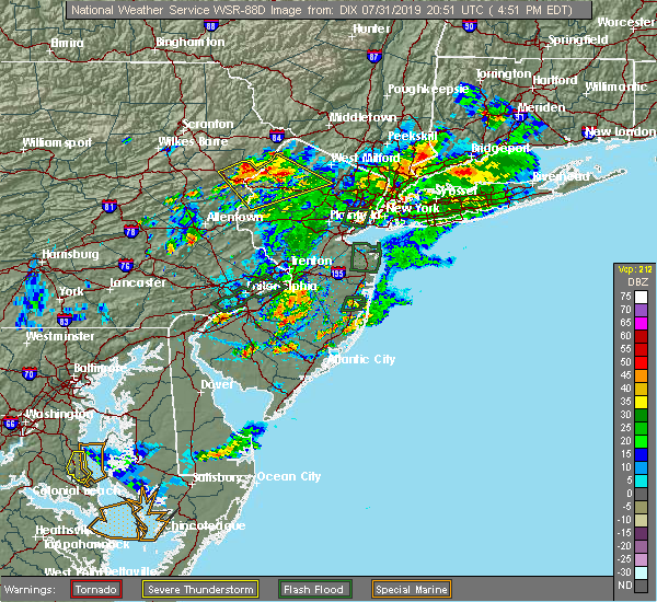 Radar Image for Severe Thunderstorms near Stroudsburg, PA at 7/31/2019 4:55 PM EDT