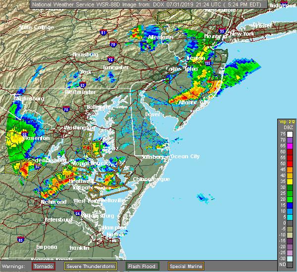 Radar Image for Severe Thunderstorms near Lexington Park, MD at 7/31/2019 6:01 PM EDT