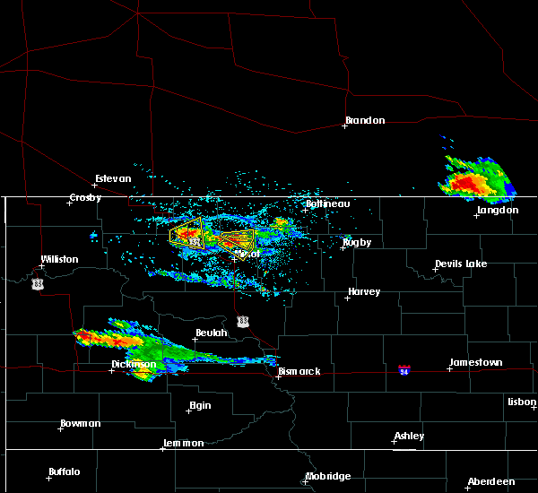 Radar Image for Severe Thunderstorms near Minot AFB, ND at 7/31/2019 9:06 PM CDT