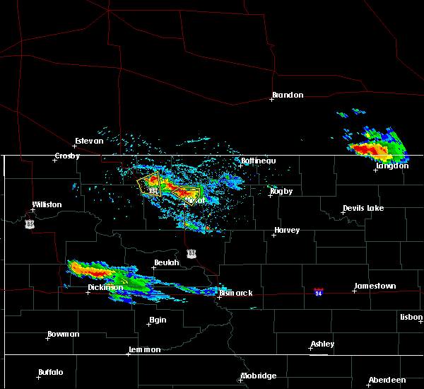 Radar Image for Severe Thunderstorms near Minot AFB, ND at 7/31/2019 9:29 PM CDT