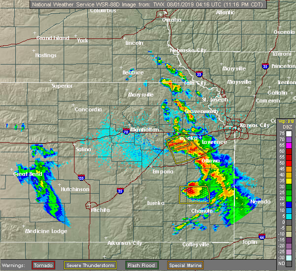 Radar Image for Severe Thunderstorms near Iola, KS at 7/31/2019 11:20 PM CDT