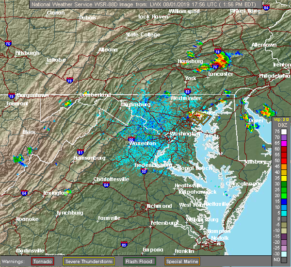 Radar Image for Severe Thunderstorms near Essex, MD at 8/1/2019 2:01 PM EDT