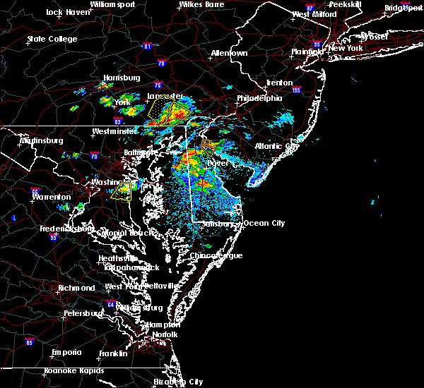 Radar Image for Severe Thunderstorms near Harrington, DE at 8/1/2019 4:03 PM EDT